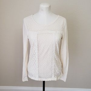 Lucky Brand Crochet waffle knit Tee long sleeve